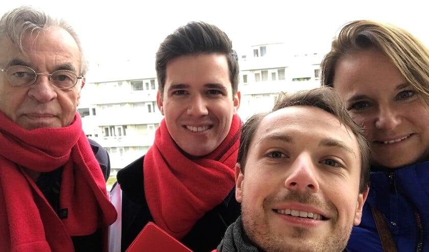 Van links naar rechts: PvdA'ers Coen van Hoogdalen, Matthijs Willemse-Jacobson, Jochem Streefkerk en Nadine Stemerdink (foto: pr PvdA).