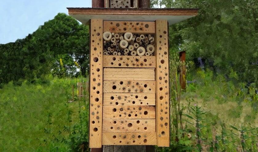 De afgesloten holletjes zijn door wilde bijen in gebruik. (foto: Pieter van Breugel)