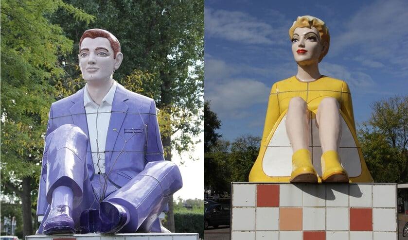 <p>De beelden &lsquo;Reclining figures&rsquo; van Berry Holslag aan de Burgemeester Sweenslaan in Leidschendam (foto: Marian Kokshoorn).</p>