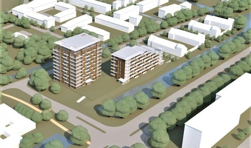 Er komen twee woongebouwen van respectievelijk 11 en maximaal 7 verdiepingen (tekening: pr).
