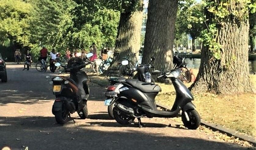 Jongeren in Park Leeuwensteijn, met hun scooters midden op straat en drukte op de groenstrook aan de Vliet (foto: pr).