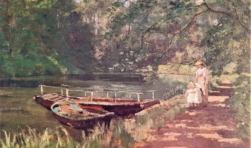 Een Zocherbootje, vernoemd naar landschapsarchitect J.D. Zocher jr.. Titel: Wandeling langs de Vliet, schilder: J.A. De Jonge, circa 1895.