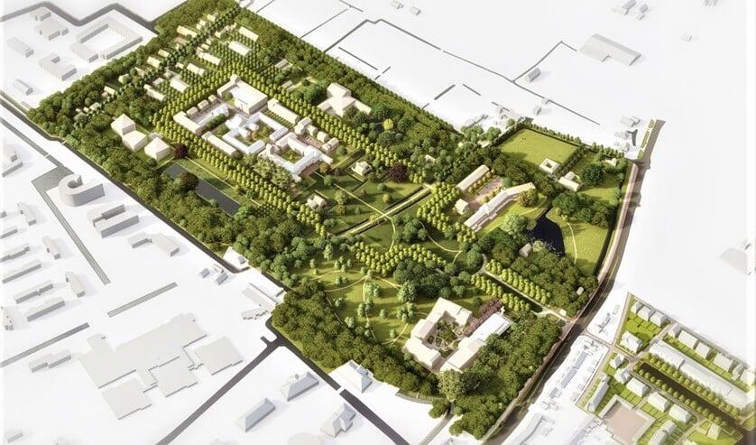 <p>Het inrichtingsplan voor Landgoed Voorlei, de nieuwe naam van Schakenbosch (llustratie: pr Schakenbosch BV).</p>