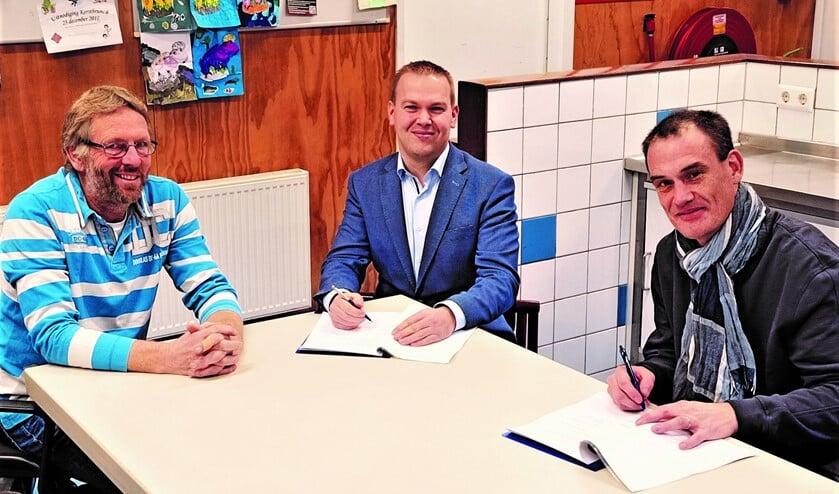 <p>Ondertekening overeenkomst Ebo Roek (voorzitter SMHG)) Daniel van Marwijk (InstaWell) en Ed van der Voorst (penningmeester SMHG).</p>