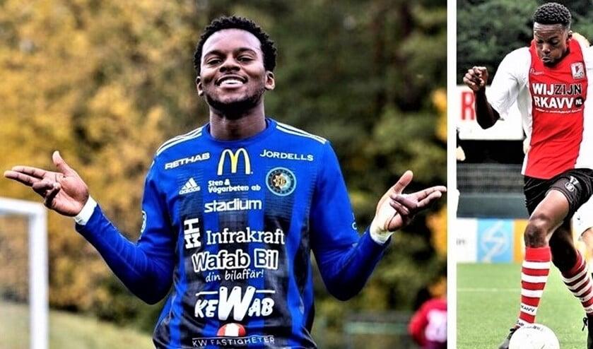 <p>Lovette Felicia in actie voor RKAVV en in het shirt van IF Karlstad, waar hij veel scoorde (foto: AW & pr IF KF).</p>