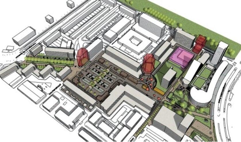 <p>Tekening van het plan met in rood-bruin de voorgestelde woontorens (afbeelding: gemeente).</p>
