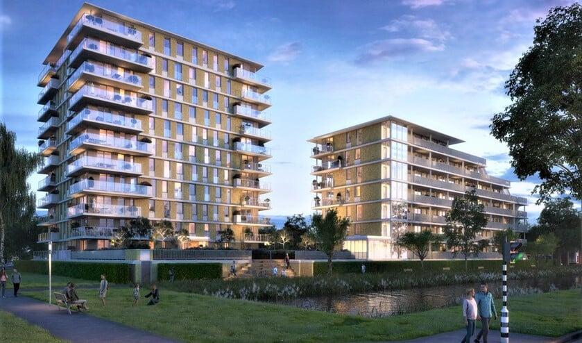 <p>Op de Prinses Carolinalaan bij de hoek Noordsingel / Veurse Achterweg verrijzen twee nieuwe gebouwen (impressie: Cieremans Van Reijn).</p>