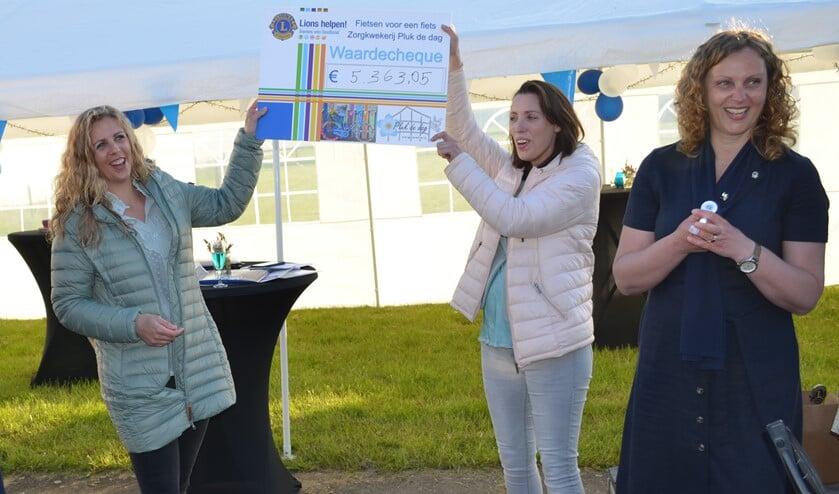 <p>Lydia Westmaas en haar zus Miriam van Zorgkwekerij Pluk de Dag zijn heel blij met de cheque.</p>