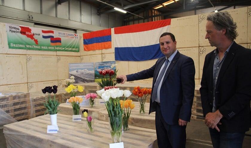 <p>Ambassadeur Tigran Balayan doopt de witte tulp Aragats, onder toeziend oog van Klaas Peter de Geus van Maveridge Blooming Colors.</p>