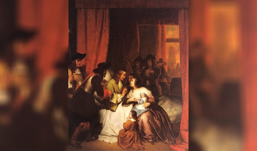 Cornelis de Witt wordt op zijn ziekbed gedwongen het Eeuwig Edict te herroepen. Ary Johannes Lamme, 1850.