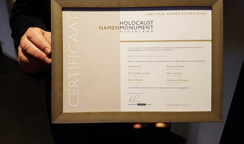 Het certificaat met de namen van de Joodse slachtoffers van het nazi regime tijdens de Tweede Wereldoorlog