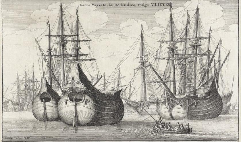 Fluitschepen, Wenceslaus Hollar, 1647, collectie: Rijksmuseum Amsterdam