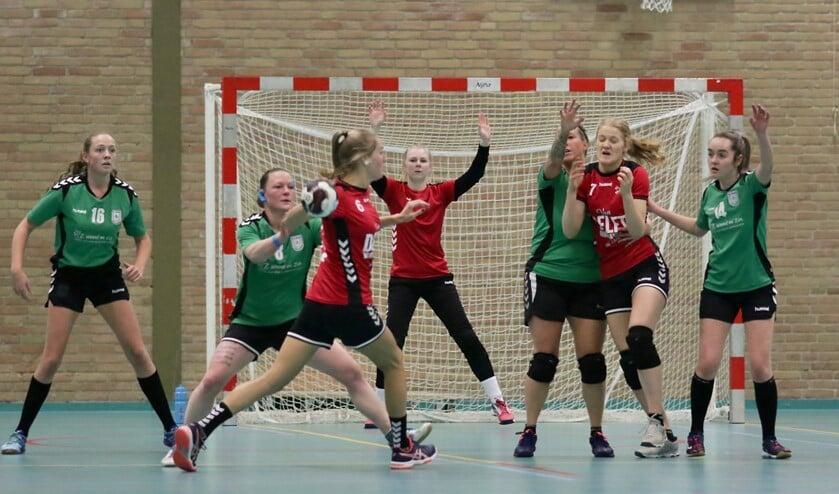 <p>Keepster Eva van Leeuwen: &#39;&#39;Zodra we na de coronaperiode weer mogen handballen, willen we er in de zaal met z&#39;n allen voor gaan om stappen te maken naar de hogere klassen.&#39;&#39; Archieffoto Theo van Kralingen.</p>