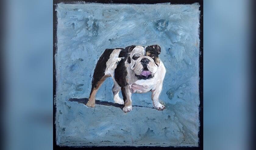 "Buldog ""John"", 100 x 100 cm olieverf op doek."
