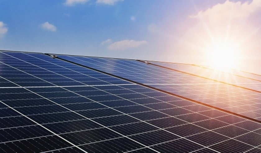 Solar panels with sunset and blue sky background. Clean power energy concept