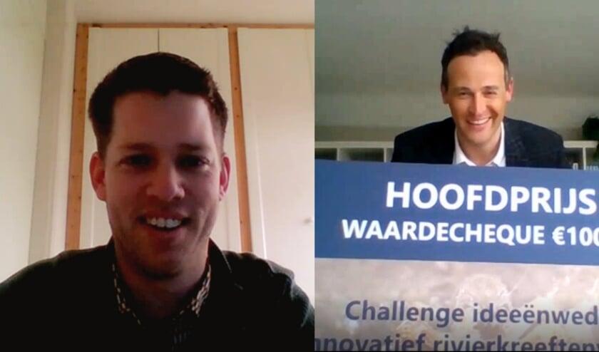 <p>Hoogheemraad Marcel Belt belde de winnaar met het goede nieuws.</p>