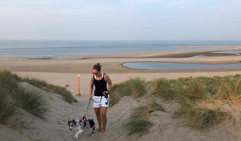 Wandelaar met hond in de duinen. (Foto: Philo van Lenning)