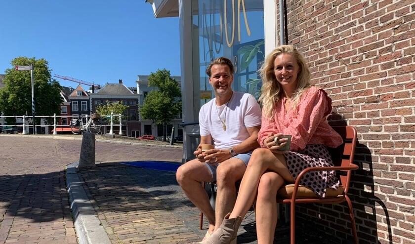 René van Dijk en Melanie Haaksma bij Nook Coiffeur, een van de deelnemende ondernemingen