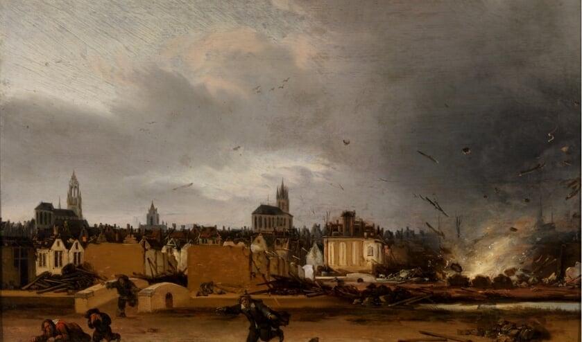 Explosie van het kruithuis te Delft, Egbert Lievensz. van der Poel, (na) 1654  Museum Prinsenhof Delft. Bruikleen Rijksdienst voor het Cultureel Erfgoed (Foto: Tom Haartsen)