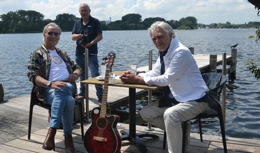 Martin Reitsma, John Meijer en Robert Jan Stips tijdens filmopnames op Kralingen