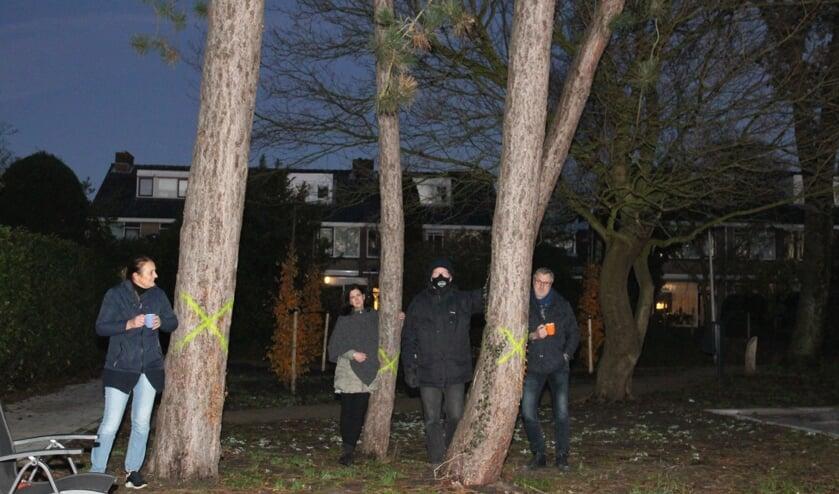 <p>De buurtbewoners maandagochtend bij de bomen. Van de kant van de gemeente was op de redactie dinsdagmiddag nog geen reactie binnen.</p>