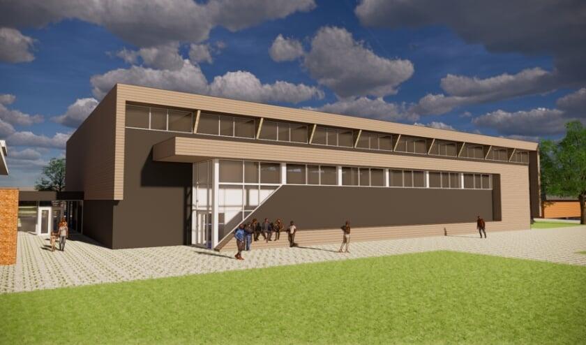 <p>De hybride sporthal die bij sportpark De Sniep moet komen.</p>