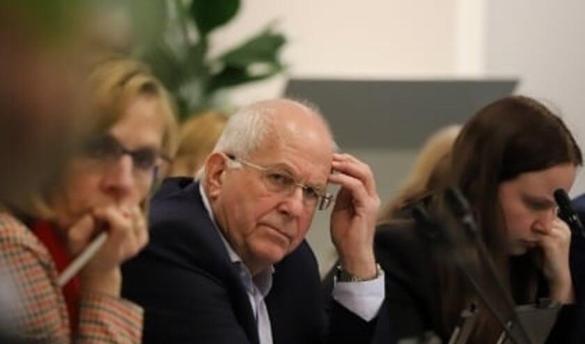 Wethouder Kraaijestein met naast hem wethouder Atzema (links op de foto) tijdens een raadsvergadering.