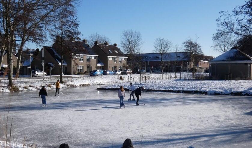<p>Bij de vijver aan het Nicolaaserf was het goed toeven op de schaatsen en in de zon. (foto: Annette van den Berg)</p>