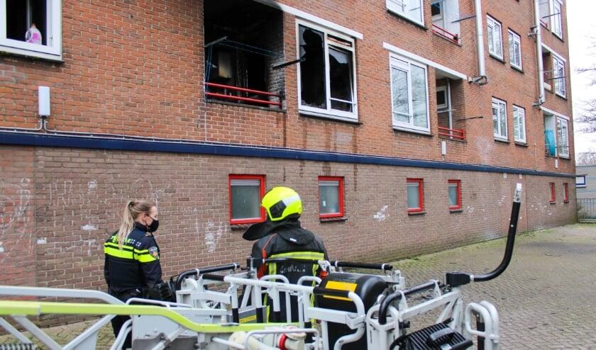 <p>De woning waar brand uitbrak, is zwaar beschadigd.</p>