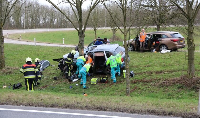 Meerdere gewonden bij ongeluk op toerit A77-A73 bij Rijkevoort. (foto: SK-Media)