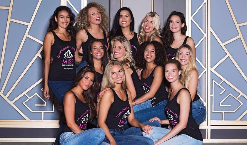 Chantal van Dalen (middelste rij, uiterst links) kan in oktober Miss Nederland worden.