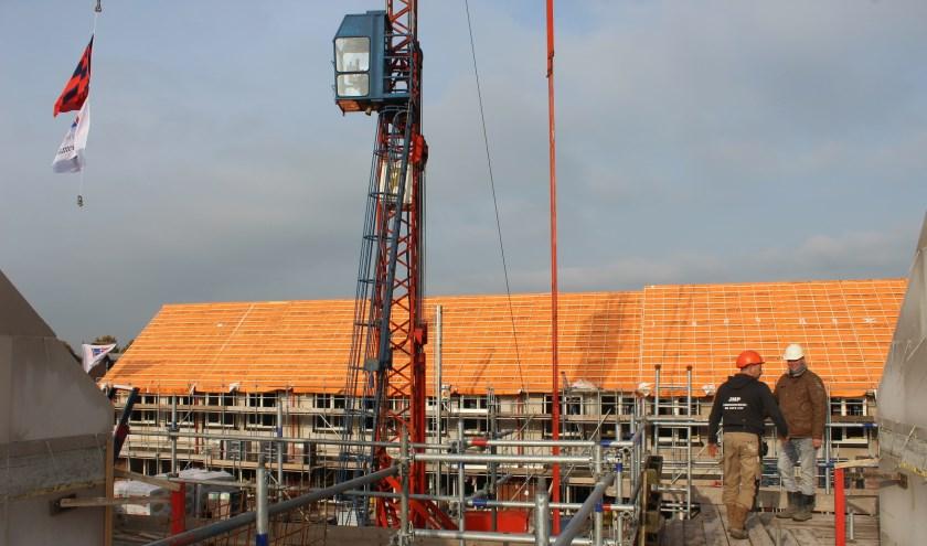 Nieuwbouw Piekenhoef bereikt hoogste punt. Foto: BrabantWonen