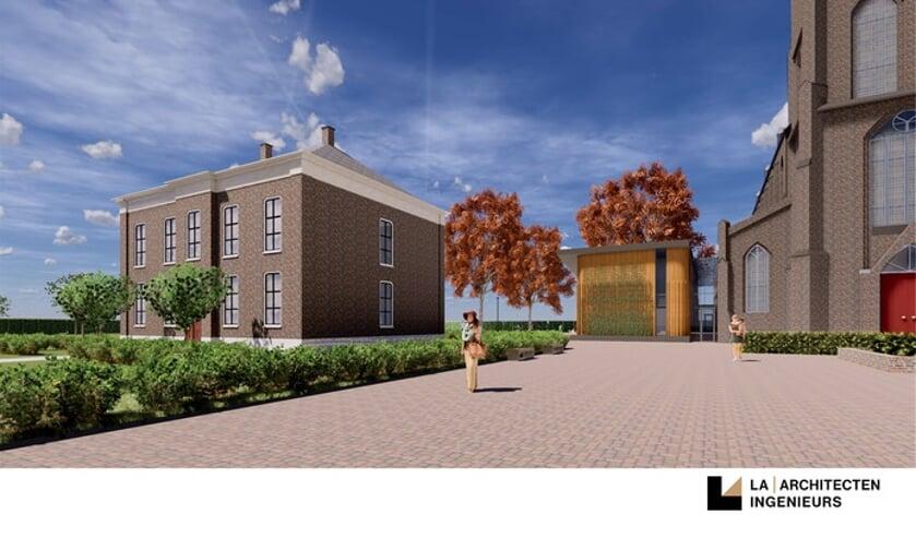 Een ontwerp waarbij de school aan de kerk is gebouwd en waar de pastorie is herbouwd. Dit is een voorbeeld ontwerp, nog geen definitieve versie.