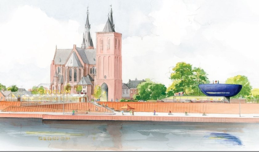Impressie van het Romeins Kwartier in Cuijk, gezien van de Maas. (impressie: Communicatiebureau Di-Visie)