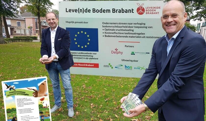<p>Wethouders Wouter Bollen en Huub Bellemakers ondertekenen ambitiestatement Duurzame Gronduitgifte</p>