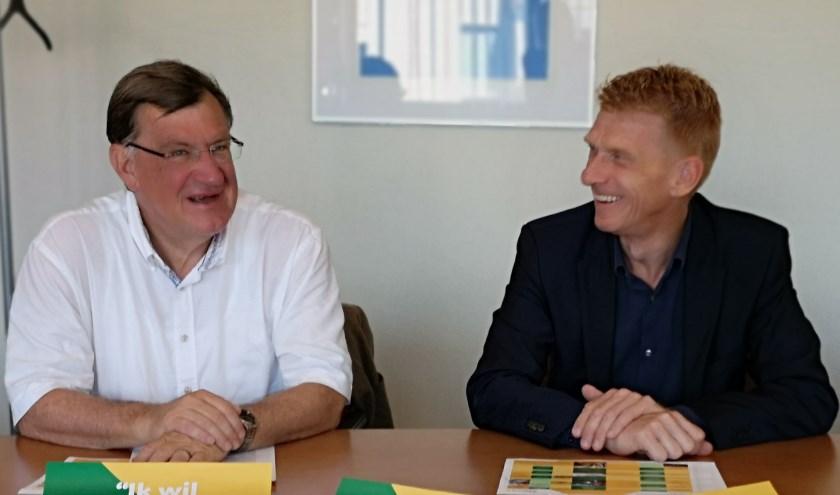 Burgemeester Hellegers van Uden en burgemeester Bakermans van Landerd.