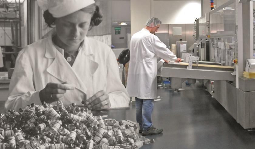 Een insuline-inpakster bij het toenmalige Organon in 1936 en de huidige moderne productie bij MSD in Oss anno 2020.