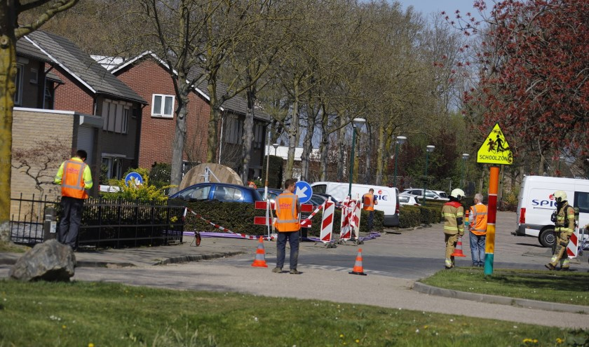 Door glasvezelwerkzaamheden in Cuijk is een gasleiding gaan lekken.