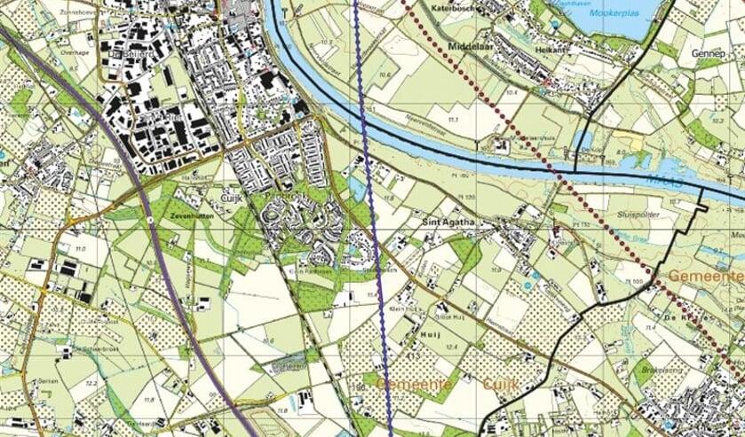 Het onderzoek wordt uitgevoerd in een rechte lijn van het noorden van Sint Agatha richting de Milieustraat in Haps.