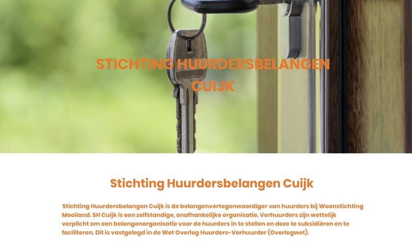 De homepage van Stichting Huurdersbelangen Cuijk