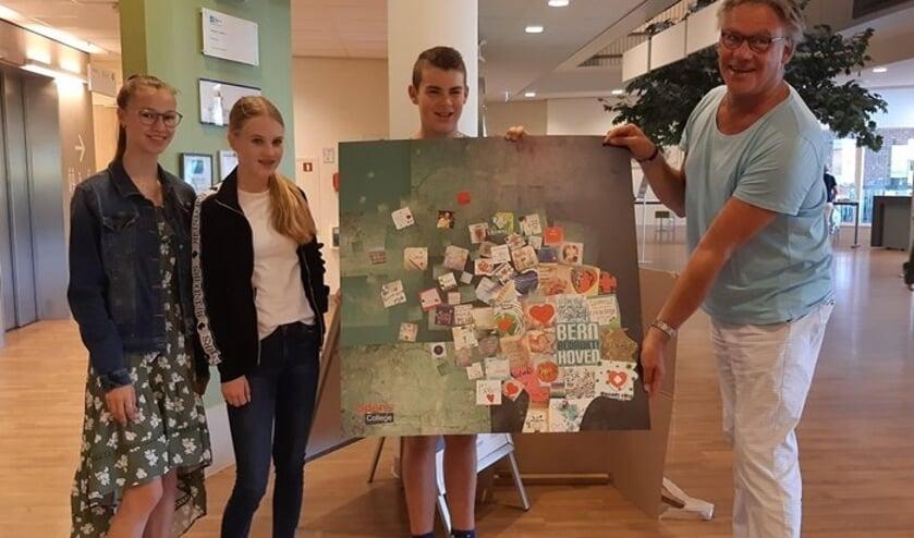 Famke, Loena en Teun met Karel Bruinsma. (foto: Ziekenhuis Bernhoven)