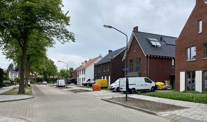 Burgemeester de Kuijperlaan met links grote bomen en rechts de nieuwbouwwijk.