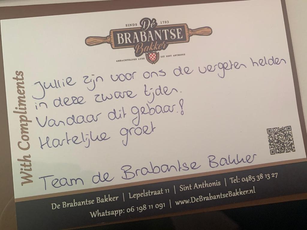 Een bedankje van Dé Brabantse Bakker.   © Kliknieuws De Maas Driehoek