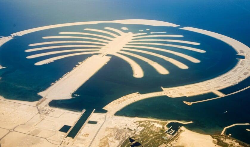 Een impressie van de ontwikkeling van Palm Island Dubai dat als inspiratie dient voor 'The Dutch Palm'