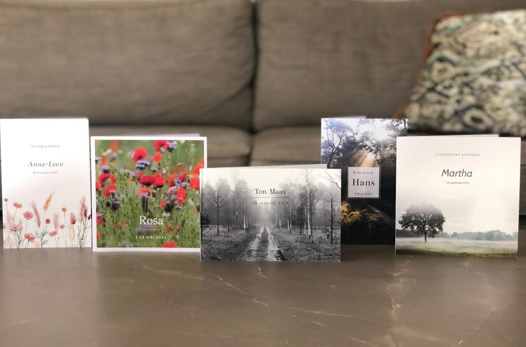 Een aantal rouwkaarten van Made for Moments.  © Kliknieuws Uden