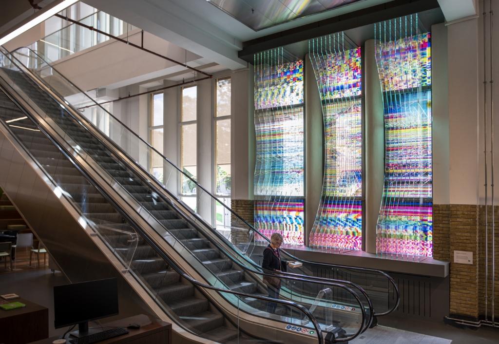 Het kunstwerk van Jop Vissers-Vorstenbosch in de Centrale bibliotheek van Utrecht.  Foto:  © Kliknieuws Veghel