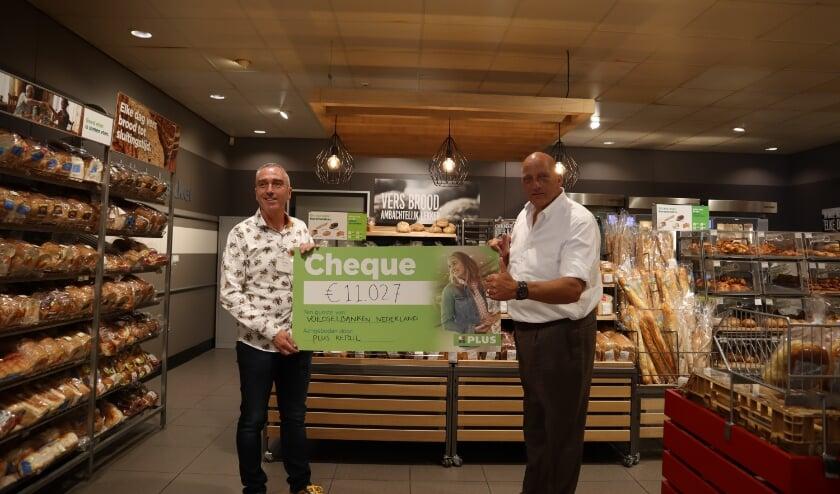 Herman den Blijker, ambassadeur van de Nederlandse Voedselbanken neemt het bedrag in ontvangst.