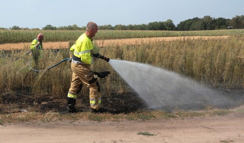 Behoorlijke buitenbrand in Oss-Zuid, vuurwerk mogelijk de oorzaak. (Foto: Charles Mallo, Foto Mallo)