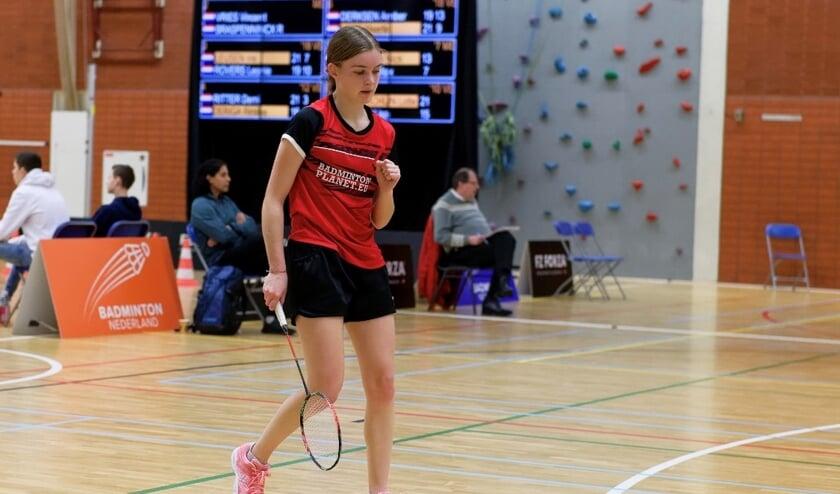 Veghels badmintontalent Amber Derksen in actie (Foto: Randy Berends Photography).