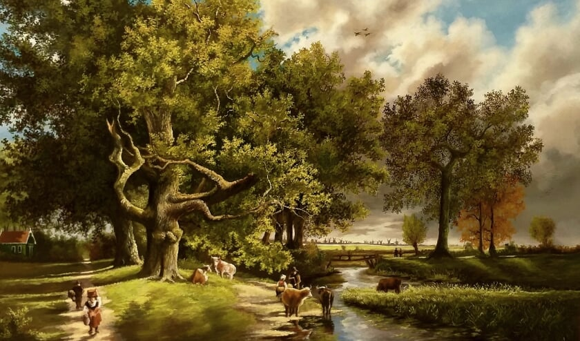 Het werk van Daniël Haans toont romantische taferelen en scènes die uit het leven zijn gegrepen.